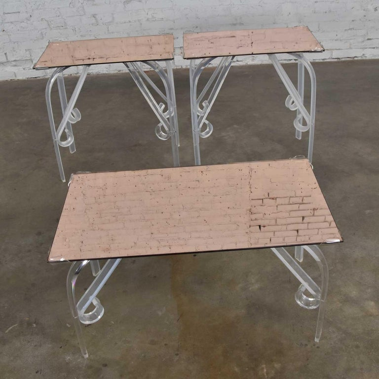 20th Century Hollywood Regency Art Deco Lucite & Rose Mirrored Tables a Set 1 Coffee & 2 End  For Sale