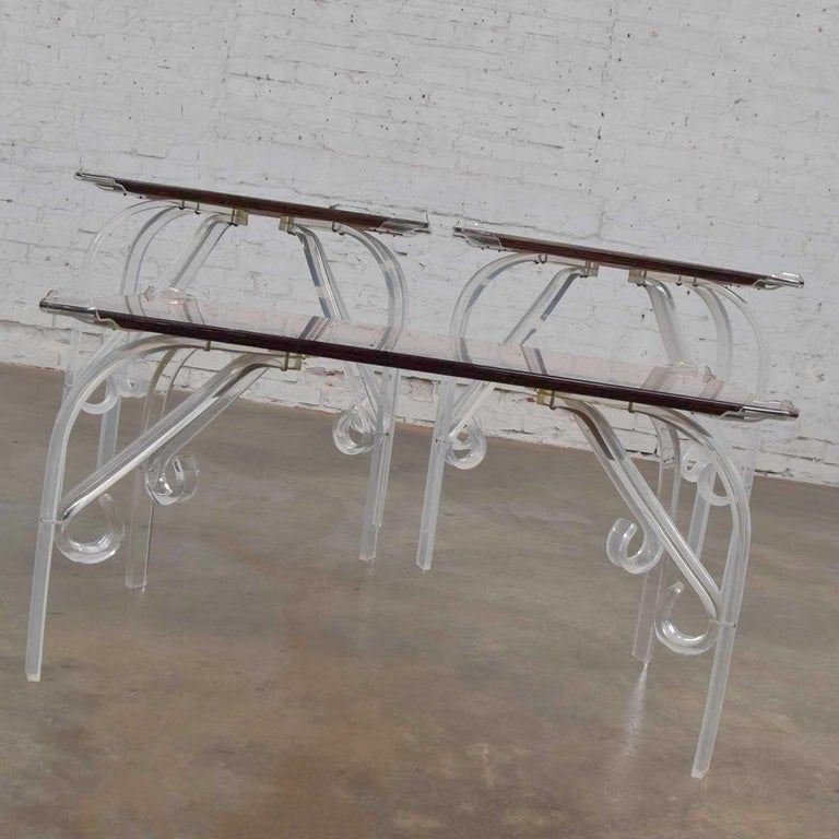 Hollywood Regency Art Deco Lucite & Rose Mirrored Tables a Set 1 Coffee & 2 End  For Sale 1
