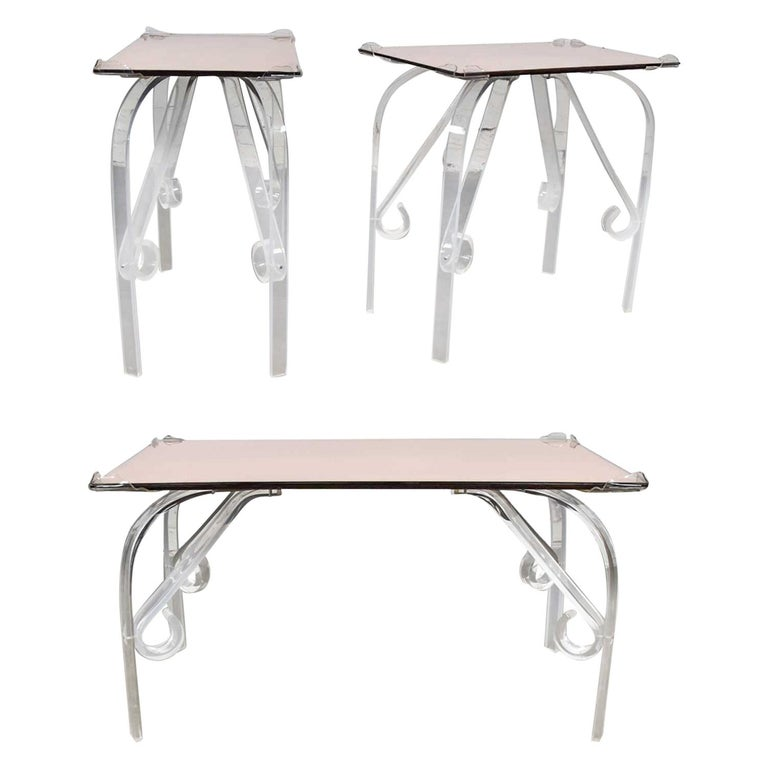 Hollywood Regency Art Deco Lucite & Rose Mirrored Tables a Set 1 Coffee & 2 End  For Sale