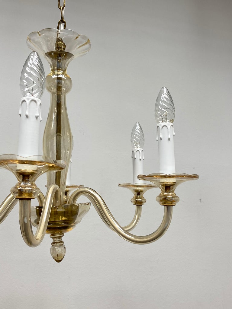 Hollywood Regency Art Deco Style Amber Murano Glass Chandelier, Italy, 1960s For Sale 4