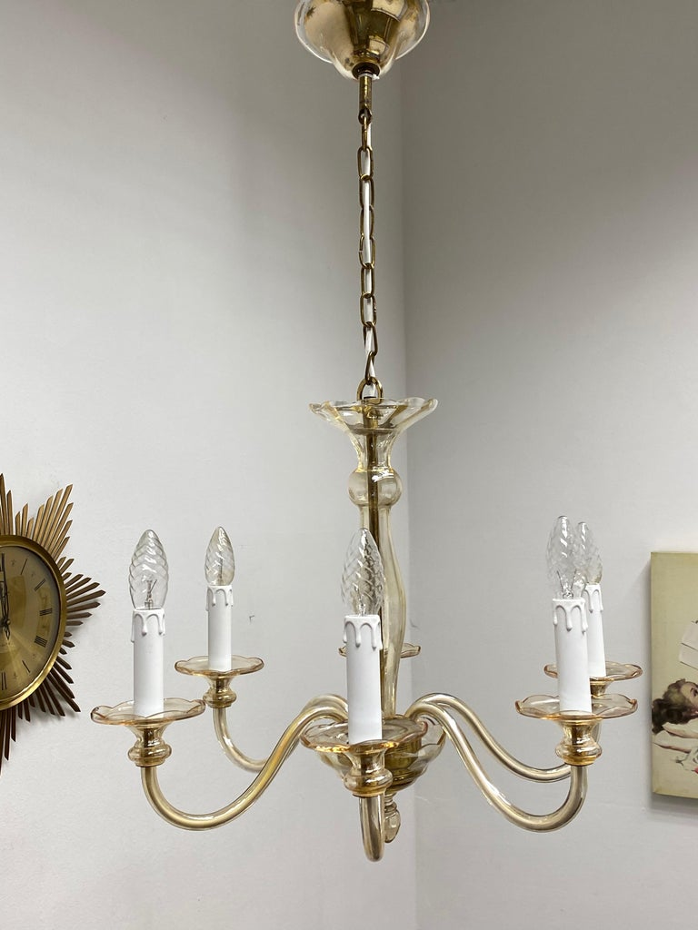 Italian Hollywood Regency Art Deco Style Amber Murano Glass Chandelier, Italy, 1960s For Sale