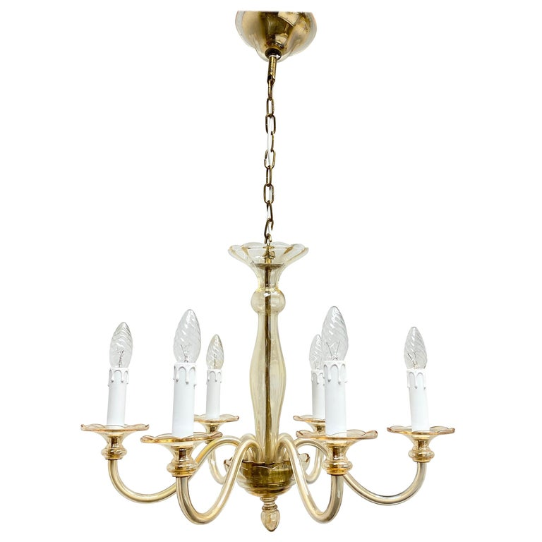 Hollywood Regency Art Deco Style Amber Murano Glass Chandelier, Italy, 1960s For Sale