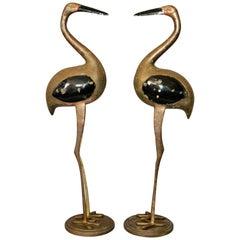 Hollywood Regency Asian Style Black Enamel & Bronze Crane Sculptures Base, Pair