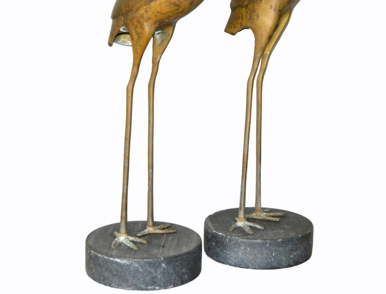 Hollywood Regency Asian Style Bronze Crane Sculptures Black Marble Base, a Pair For Sale 6