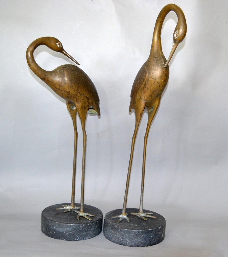 Hollywood Regency Asian Style Bronze Crane Sculptures Black Marble Base, a Pair For Sale 9