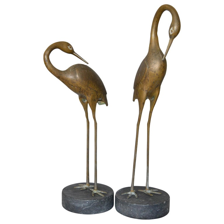 Hollywood Regency Asian Style Bronze Crane Sculptures Black Marble Base, a Pair For Sale