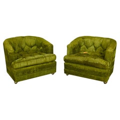 Hollywood Regency Avocado Green Crushed Chenille Button Tufted Barrel Chairs a P