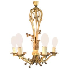 Hollywood Regency Balloon Shaped Chandelier, Metal Paint Decorated with 5 Arms