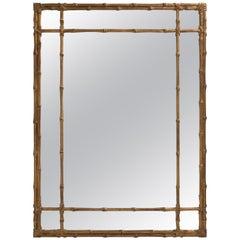 Hollywood Regency Bamboo Motif Gilt Mirror