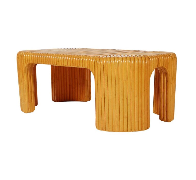 American Hollywood Regency Bamboo Rattan Coffee Table or Cocktail Table For Sale