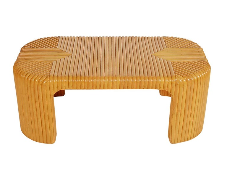 Hollywood Regency Bamboo Rattan Coffee Table or Cocktail Table In Good Condition For Sale In Philadelphia, PA