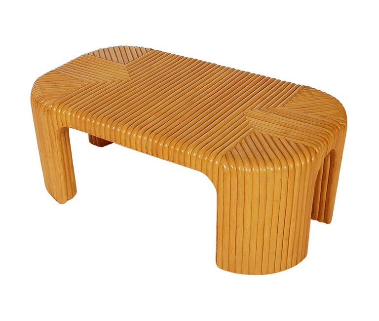 Late 20th Century Hollywood Regency Bamboo Rattan Coffee Table or Cocktail Table For Sale