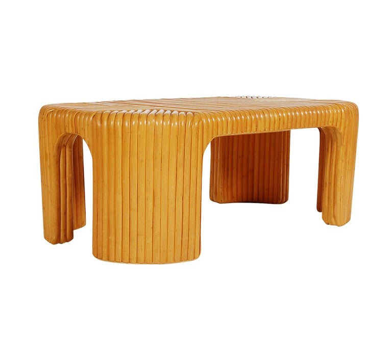 Hollywood Regency Bamboo Rattan Coffee Table or Cocktail Table For Sale 1