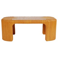 Hollywood Regency Bamboo Rattan Coffee Table or Cocktail Table