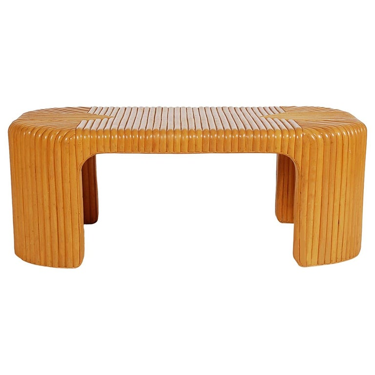 Hollywood Regency Bamboo Rattan Coffee Table or Cocktail Table For Sale