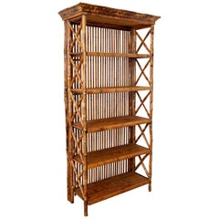 Hollywood Regency Bamboo Rattan Étagère Bookcase