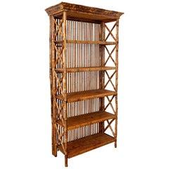 Hollywood Regency Bamboo Rattan Étagère Bookcase
