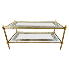 Hollywood Regency Baques Style Coffee Table Brass Bamboo and Églomisé Form