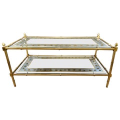 Hollywood Regency Baques Style Coffee Table Brass Bamboo and Eglomise Form