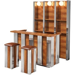 Hollywood Regency Bar Cabinet and Bar Stools in the Style of Willy Rizzo