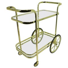 Hollywood Regency Bar Cart in Brass and Glass