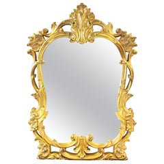 Hollywood Regency Baroque Revival Style Gold Frame Mirror