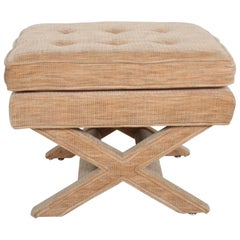 Hollywood Regency Billy Baldwin Style X-Base Stool or Ottoman