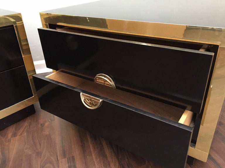 Hollywood Regency Black Lacquer And Brass Asian
