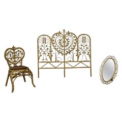 Hollywood Regency Bohemian Bedroom Trio Gold Wicker Headboard Chair and Mirror