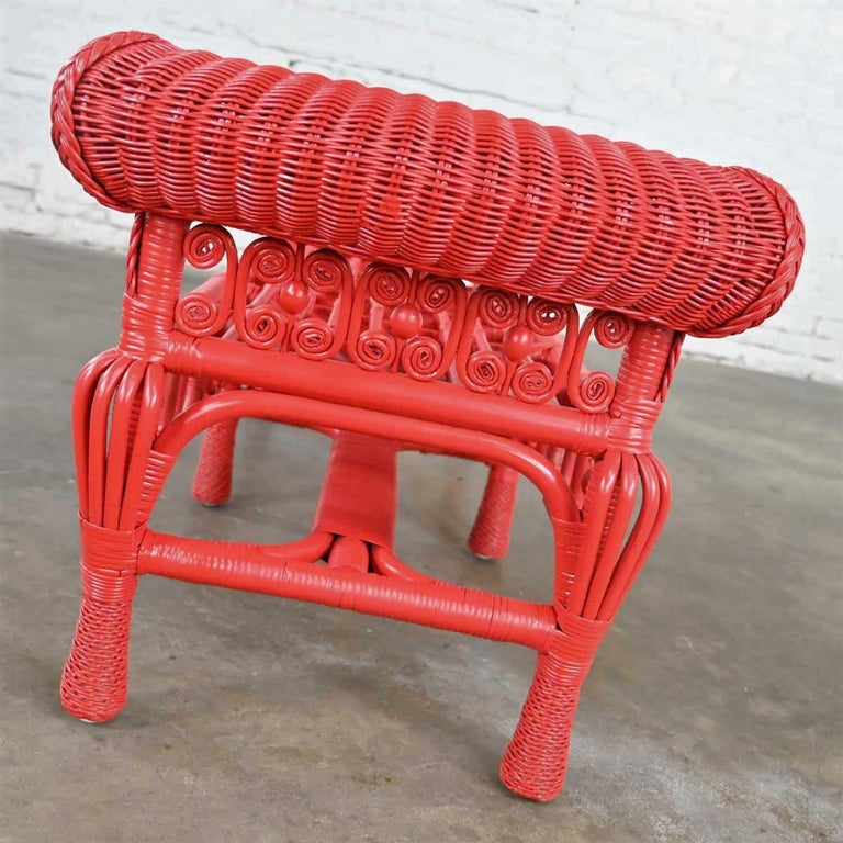 Hollywood Regency Boho Chic Poppy Red Painted Gondola Style Wicker Bench Table For Sale 4