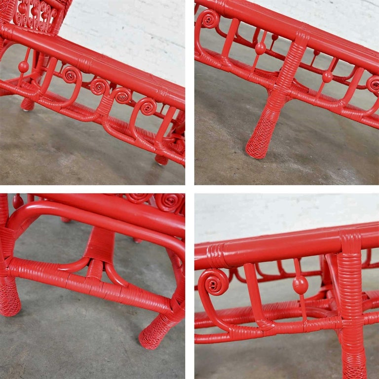 Hollywood Regency Boho Chic Poppy Red Painted Gondola Style Wicker Bench Table For Sale 5