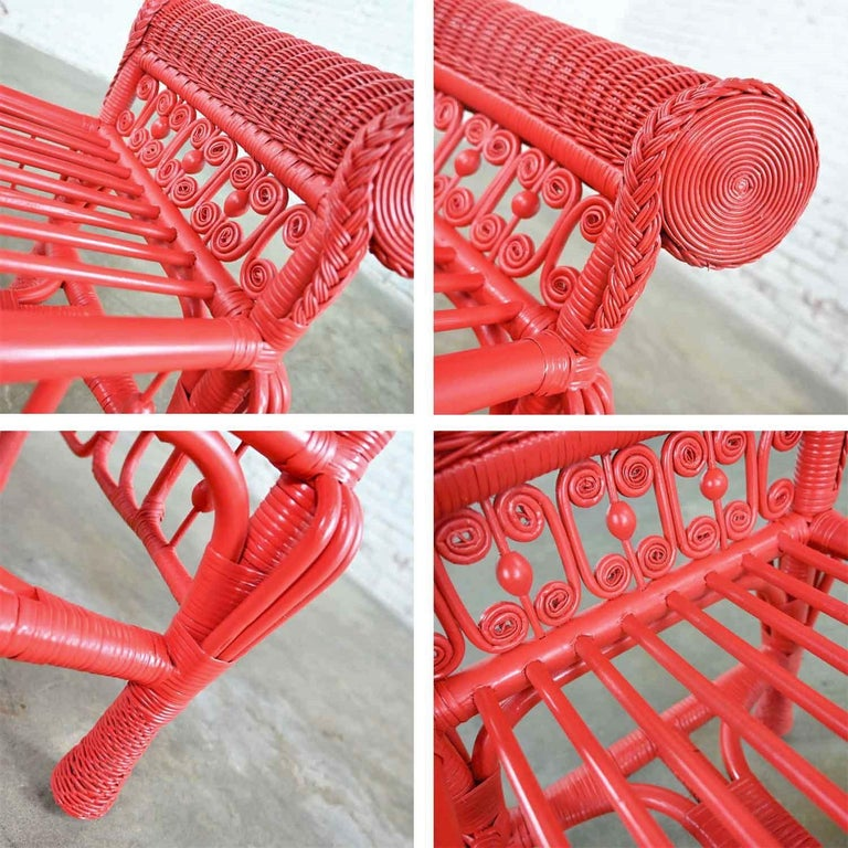 Hollywood Regency Boho Chic Poppy Red Painted Gondola Style Wicker Bench Table For Sale 6