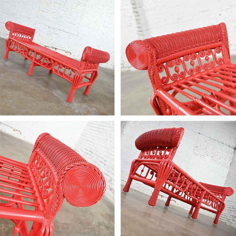 Hollywood Regency Boho Chic Poppy Red Painted Gondola Style Wicker Bench Table For Sale 7