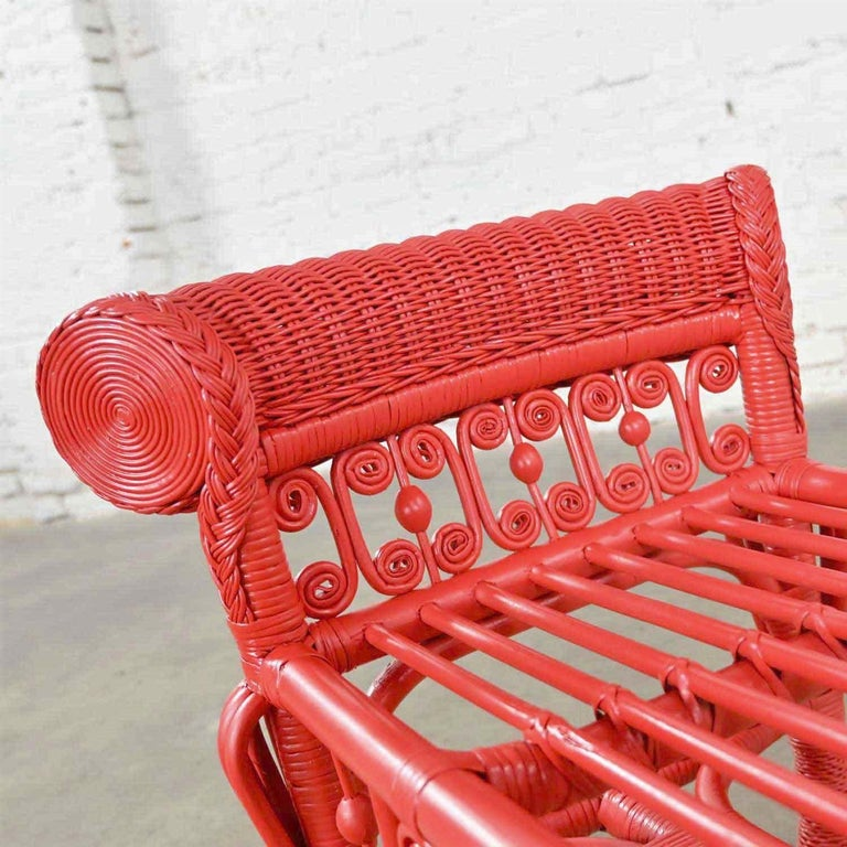 Hollywood Regency Boho Chic Poppy Red Painted Gondola Style Wicker Bench Table For Sale 8