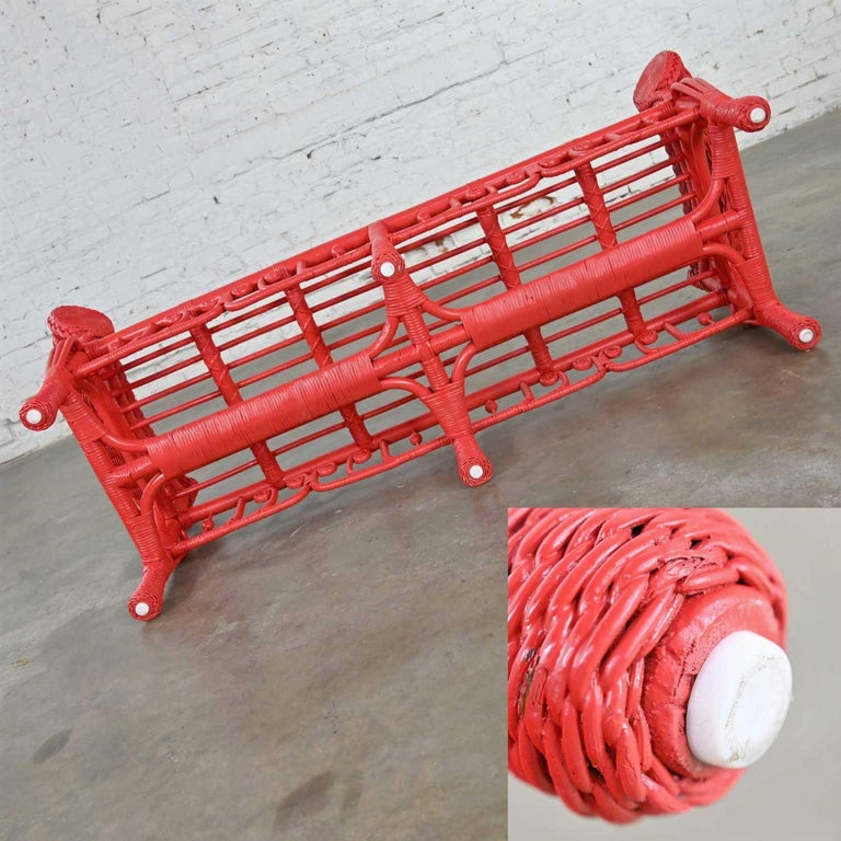 Hollywood Regency Boho Chic Poppy Red Painted Gondola Style Wicker Bench Table For Sale 9
