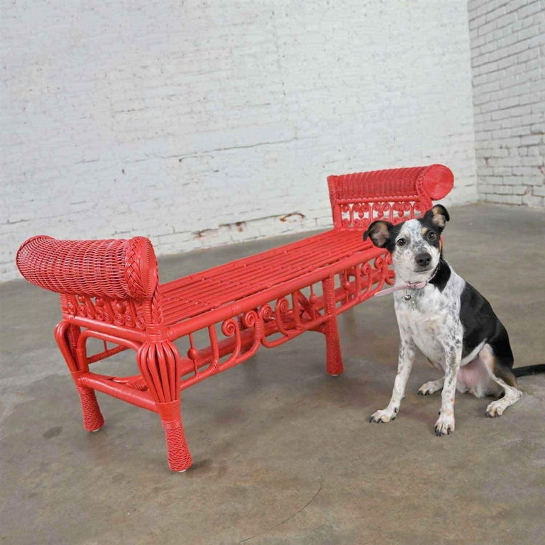 Amazing Hollywood Regency boho chic poppy red painted gondola style wicker bench or make it a table. Beautiful condition, keeping in mind that this is vintage and not new so will have signs of use and wear. This has been totally repainted by our