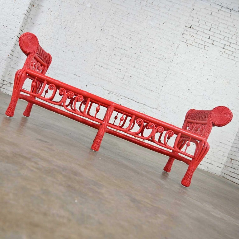 Bohemian Hollywood Regency Boho Chic Poppy Red Painted Gondola Style Wicker Bench Table For Sale