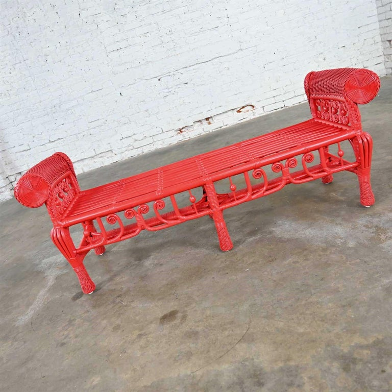Unknown Hollywood Regency Boho Chic Poppy Red Painted Gondola Style Wicker Bench Table For Sale