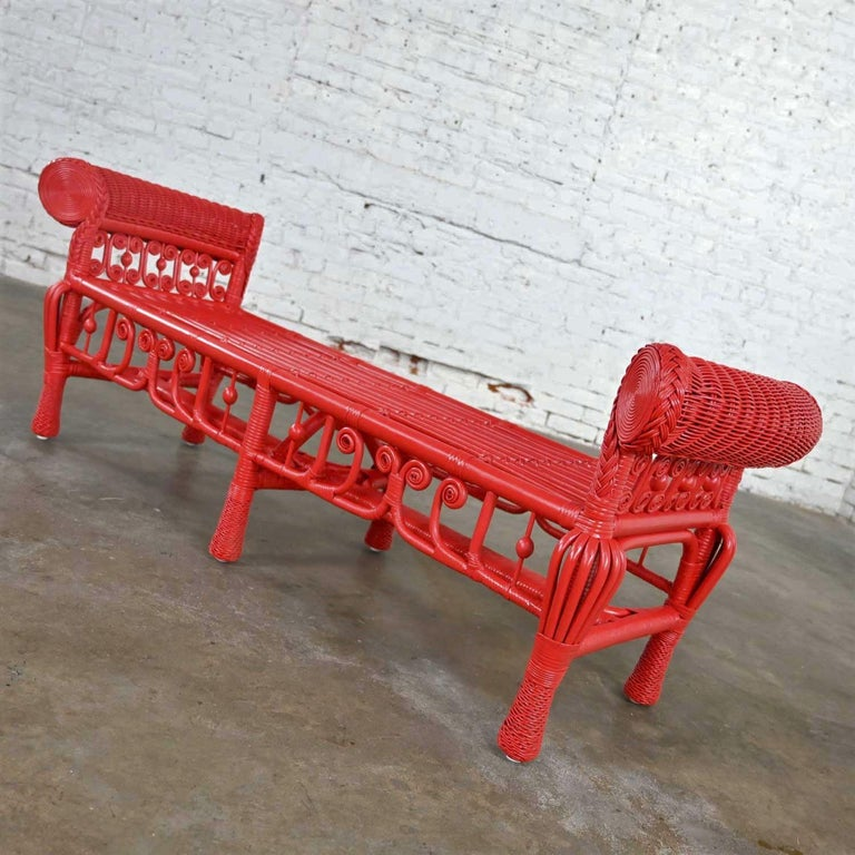 Hollywood Regency Boho Chic Poppy Red Painted Gondola Style Wicker Bench Table In Good Condition For Sale In Topeka, KS