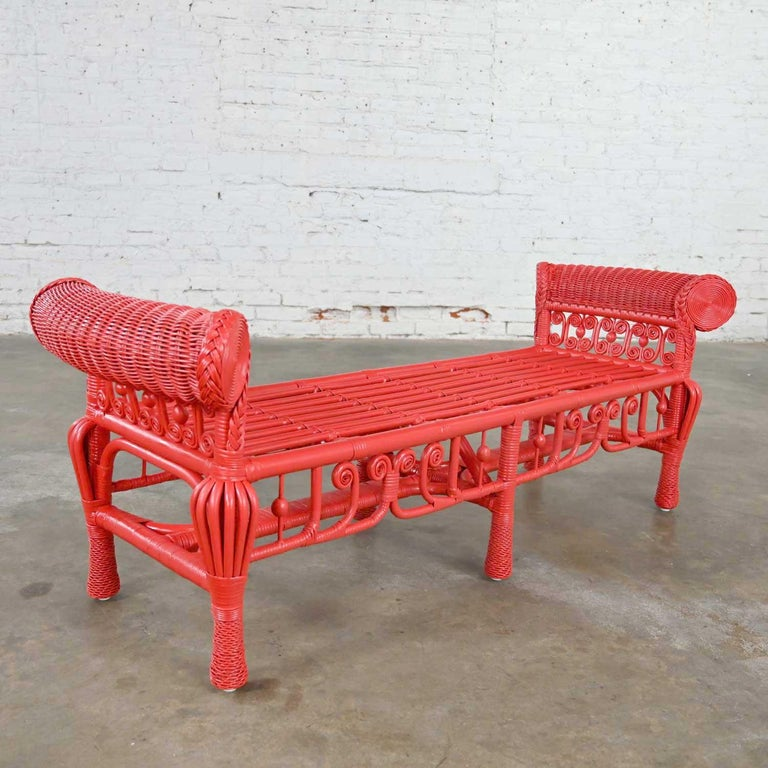 20th Century Hollywood Regency Boho Chic Poppy Red Painted Gondola Style Wicker Bench Table For Sale