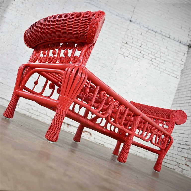 Hollywood Regency Boho Chic Poppy Red Painted Gondola Style Wicker Bench Table For Sale 2
