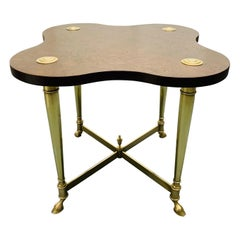 Hollywood Regency Brass and Burl Table