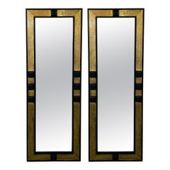 Hollywood Regency Brass and Ebony Wood Pier or Wall Mirror, a Pair