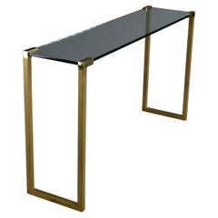 Hollywood Regency Brass and Glass Console