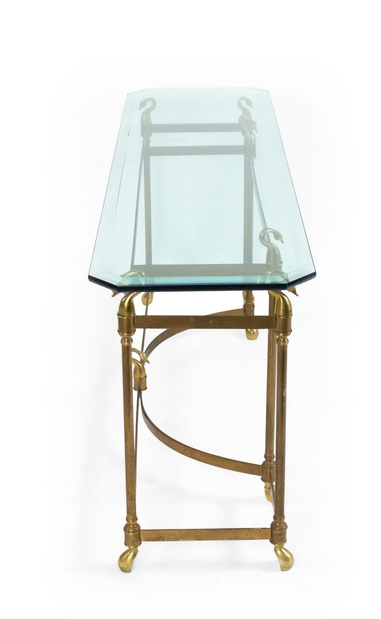 American Hollywood Regency Brass and Glass Console Table For Sale