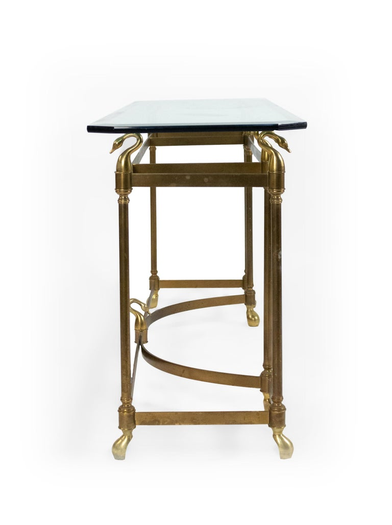 Hollywood Regency Brass and Glass Console Table In Good Condition For Sale In New York, NY