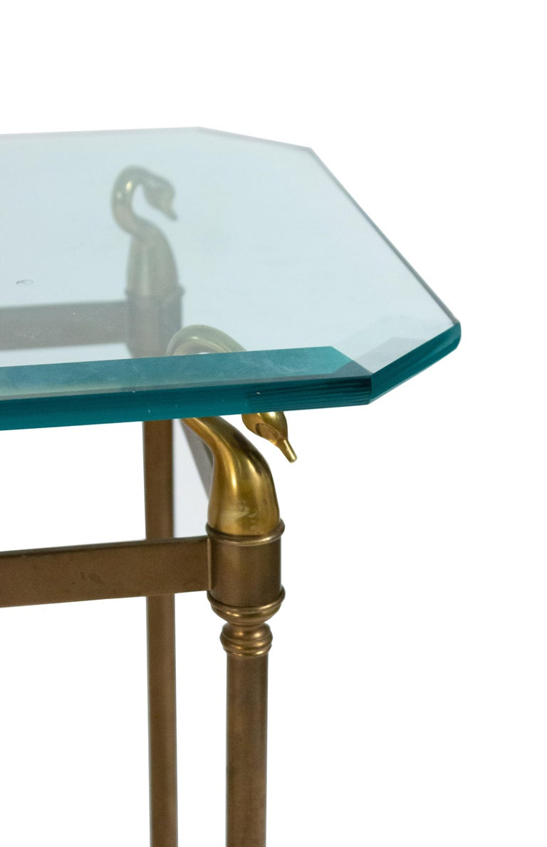 20th Century Hollywood Regency Brass and Glass Console Table For Sale