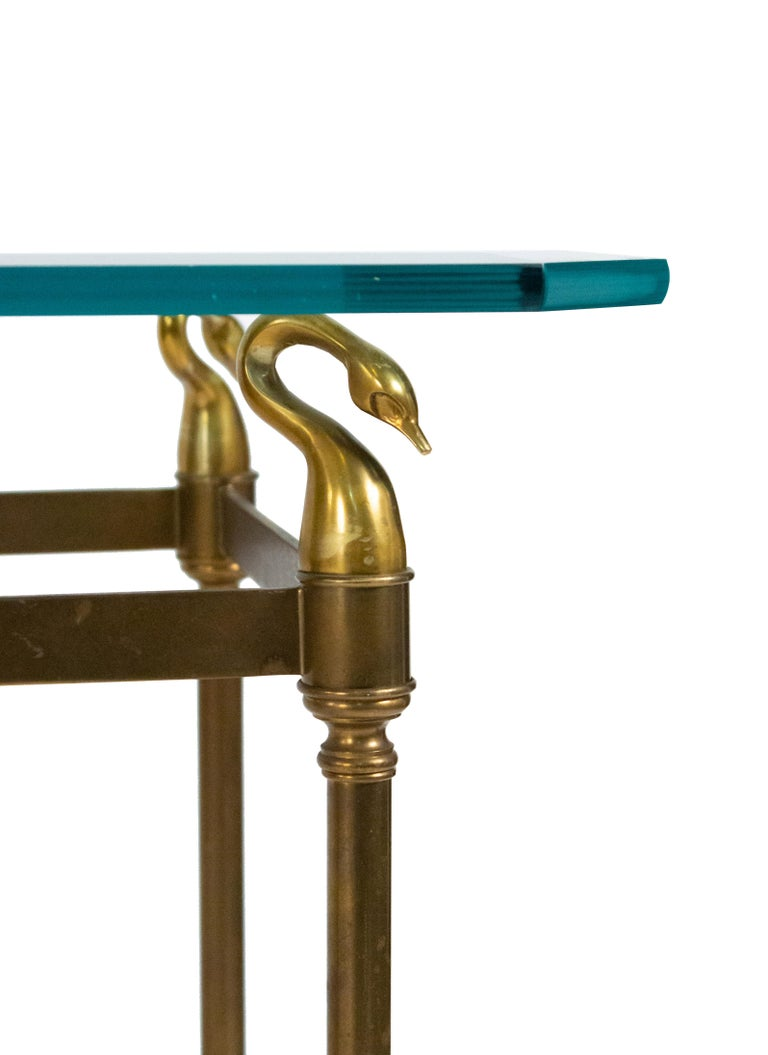 Hollywood Regency Brass and Glass Console Table For Sale 1