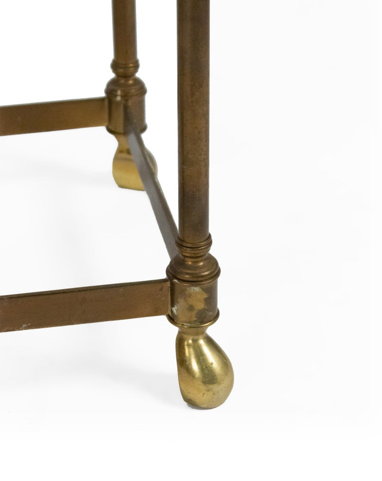 Hollywood Regency Brass and Glass Console Table For Sale 2