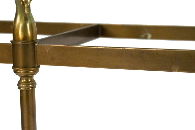Hollywood Regency Brass and Glass Console Table For Sale 3